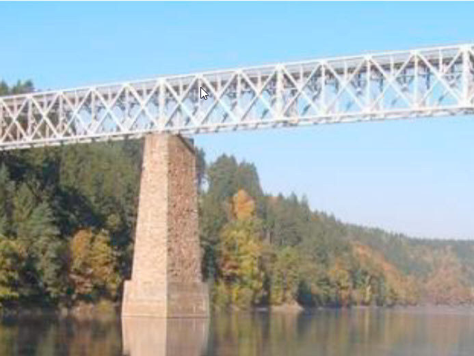 Railway bridge across Vltava river