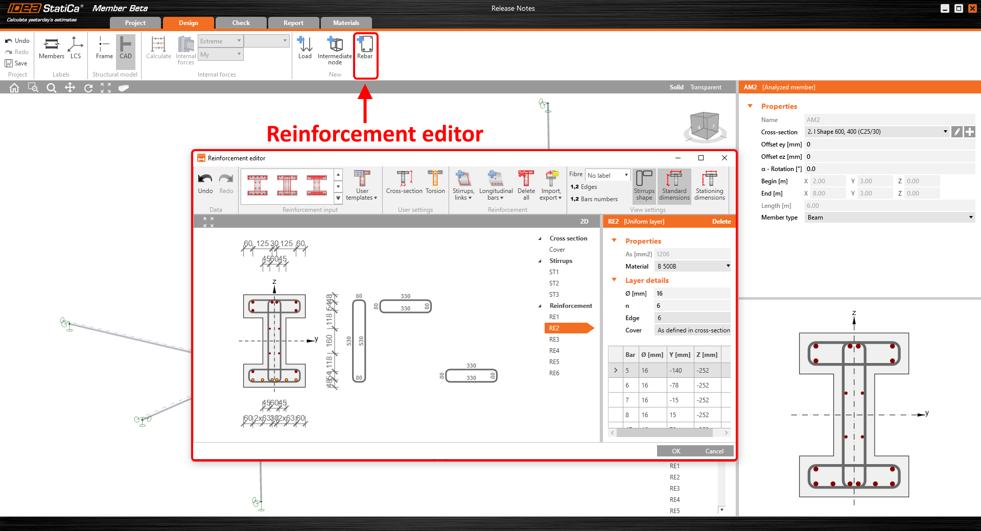 IDEA StatiCa - Reinforcement editor