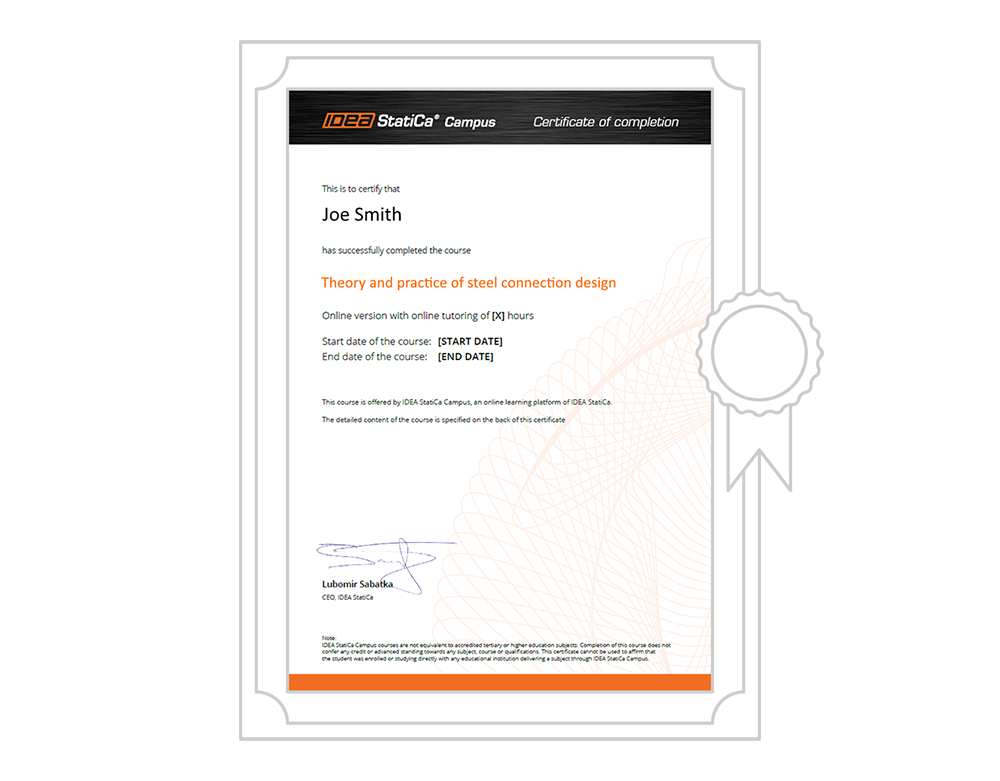 IDEA StatiCa UK - Campus Course Certificate
