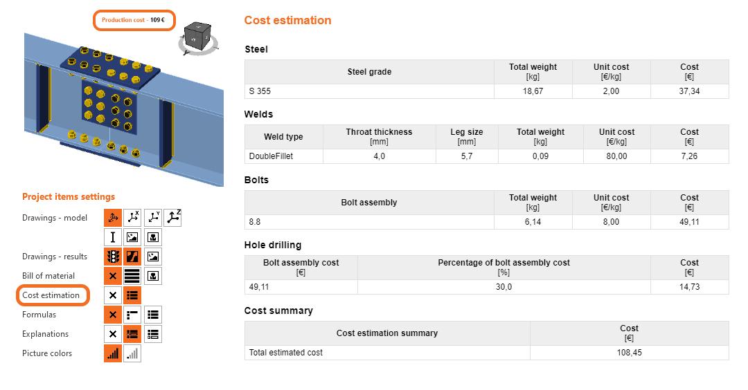 IDEA StatiCa UK - Cost Estimation