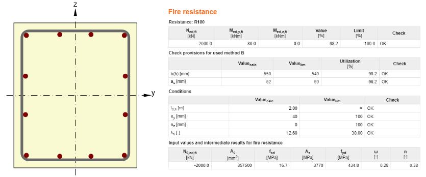IDEA StatiCa - Fire resistance Method B