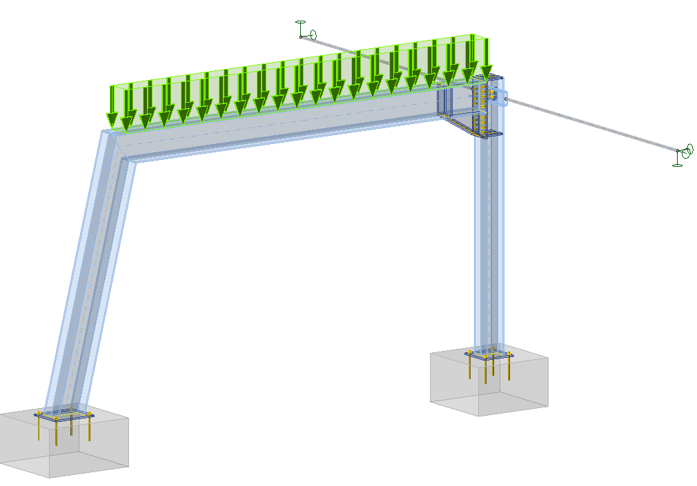 IDEA StatiCa - Steel frame with footings